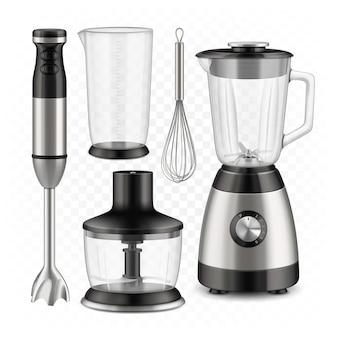 Blender, robot kuchenny i zestaw narzędzi trzepaczki wektor