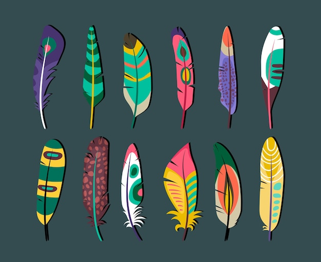 Bliska atrakcyjne kolorowe pióra zestaw wzorów ikon na szarym tle.