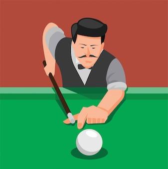 Bliska człowiek z wąsami strzelanie piłkę w basenie, ilustracja gry w bilard w kreskówce płaskiej ilustracji edycji