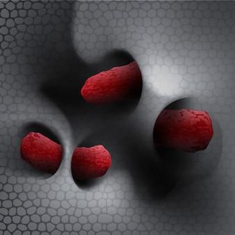 Bliska ilustracja bakterii na powierzchni błony śluzowej skóry lub jelita pod mikroskopem