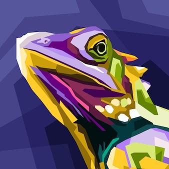 Bliska kameleon jaszczurka pop-art portret na białym tle dekoracja