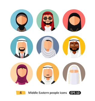 Bliskowschodni ludzie avatar ustawiających wektorowych płaskich ikon arabskich użytkowników