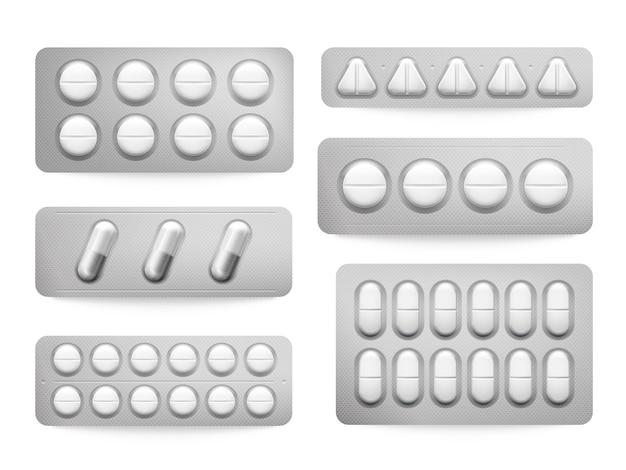 Blister 3d pakuje białe tabletki paracetamolu, kapsułki aspiryny, antybiotyki lub znak leków przeciwbólowych.