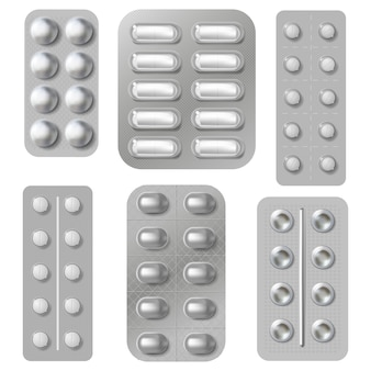 Blistry i opakowania tabletek. realistyczne opakowanie z witaminami i antybiotykami. zestaw do pakowania leków farmaceutycznych. farmaceutyczna tabletka i ilustracja antybiotyku