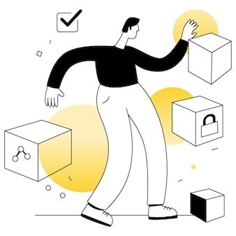Blockchain crypto waluta wektory ilustracja płaska linia