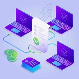 Blockchain, inteligentna koncepcja kontraktu. biznes internetowy z podpisem cyfrowym. 3d izometryczny ilustracja.