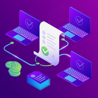 Blockchain, inteligentna koncepcja kontraktu. biznes internetowy z podpisem cyfrowym. 3d izometryczny