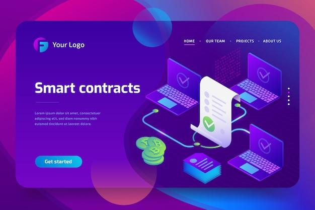 Blockchain, inteligentna koncepcja kontraktu. biznes internetowy z podpisem cyfrowym. izometryczny