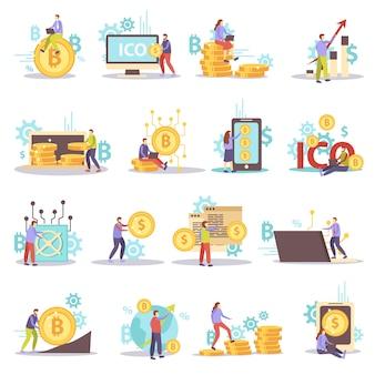 Blockchain kryptowaluty biznesowe płaskie ikony ustaw na białym tle