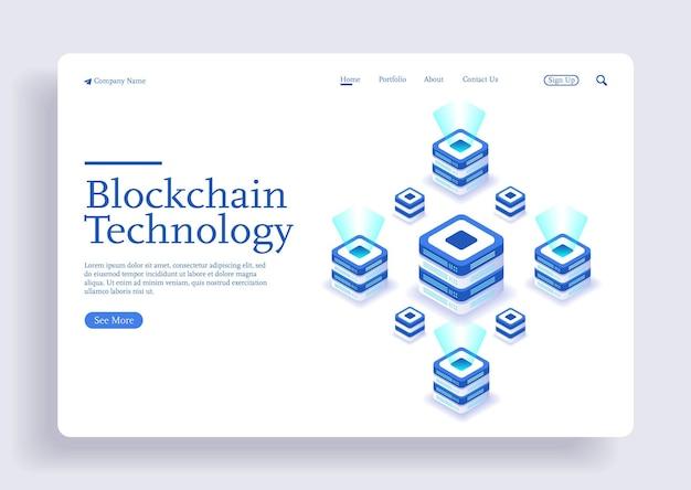 Blockchain nowoczesna, płaska koncepcja izometryczna kryptowaluty