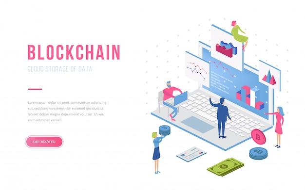 Blockchain nowoczesny płaski kształt izometryczny szablon strony docelowej. koncepcja kryptowaluty i ludzie. szablon strony docelowej.