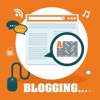 Blog i technologia graficzny projekt, wektorowa ilustracja eps10