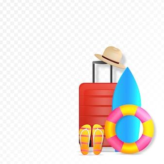 Blog podróżniczy z czerwoną walizką, plażowym kapeluszem na wakacje. koncepcja letnich podróży.
