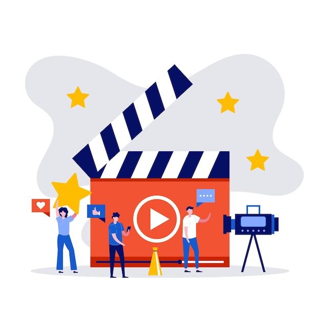 Blog wideo, vlog, koncepcja kanału online z postaciami tworzącymi treści wideo.