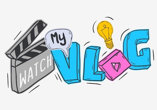 Blog wideo vlog, styl kreskówkowy, watch my vlog.