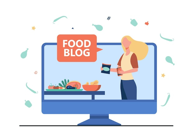 Bloger kulinarny prowadzący warsztaty. gotowanie online, lekcje wideo, szef kuchni. ilustracja kreskówka