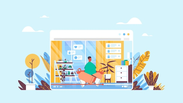 Blogerka fitness siedząca pozycja lotosu nagrywanie online blog wideo transmisja strumieniowa na żywo koncepcja blogowania mężczyzna vlogger wykonujący ćwiczenia jogi w oknie przeglądarki internetowej poziomo