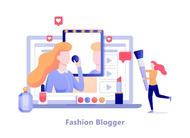 Blogerka modowa na ekranie komputera. kanał na blogu wideo, modne akcesoria i makijaż. ilustracja w stylu