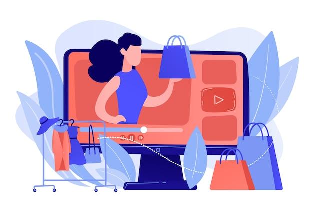 Blogerka modowa przegląda wideo modny zakup i wieszak na ubrania. blog modowy, blogowanie na zakupach, koncepcja pracy dla blogerki modowej. różowawy koralowy bluevector ilustracja na białym tle