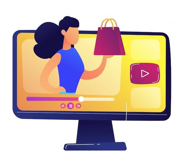 Blogerka modowa z modną koncepcją torby wideo. odosobniony