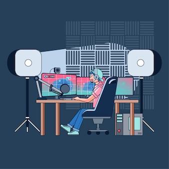 Blogerzy grają w gry na żywo na swoich kanałach, oglądając je na całym świecie. blogerzy o grach są bardzo popularni wśród graczy. płaska ilustracja