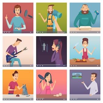 Blogerzy internetowi. influencerzy rozrywki osoby tworzące treści cyfrowe online uczące gotowania śpiewające postacie blogerek kosmetycznych. ilustracja online blog w mediach społecznościowych