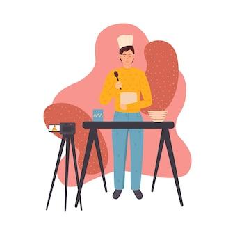 Blogerzy przesyłający płaski zestaw ilustracji. kulinarni twórcy vlogów. koncepcja kanału wideo na żywo