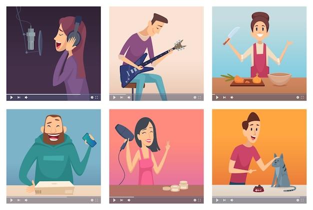 Blogerzy wideo. twórcy treści cyfrowych twórcy multimediów rozrywki internetowej młodzi ludzie wpływowi wektorów postaci internetowych. ilustracje multimedialne i wideo, treści internetowe online