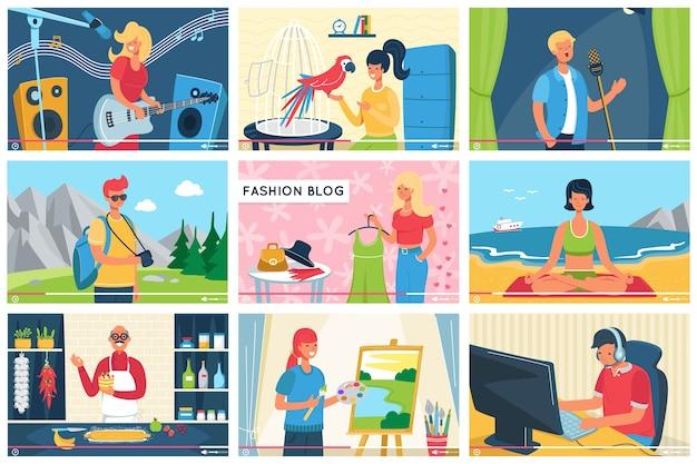 Blogerzy wideo zestaw banerów ilustracji