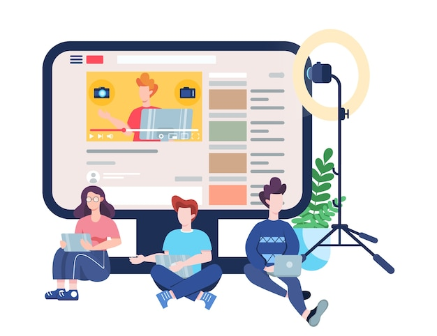 Blogger. oglądaj treści w internecie. idea mediów i sieci przestrzennej. komunikacja przez internet. ilustracja