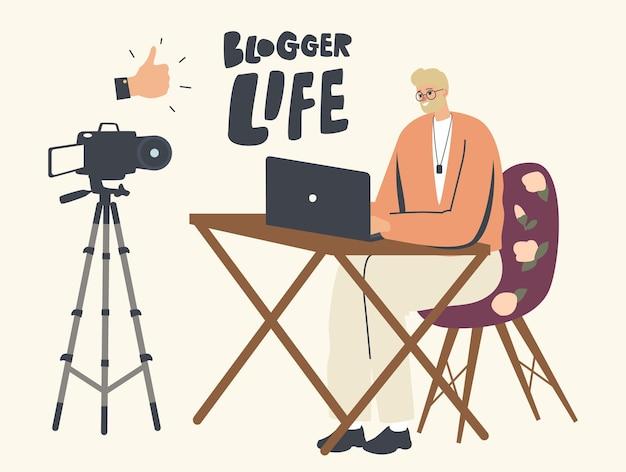 Blogger przemawiający przed kamerą i ekranem laptopa. transmisja online vloggera, ilustracja recenzji