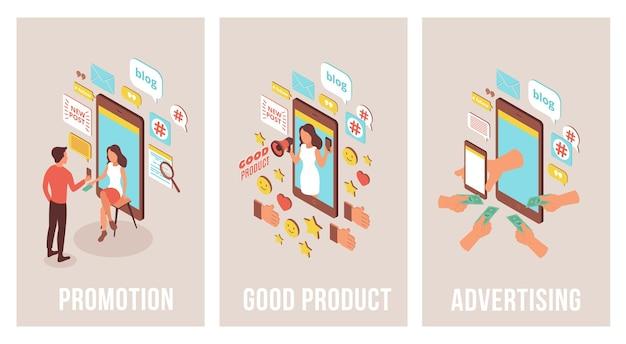 Blogger reklamujący izometryczny zestaw trzech pionowych banerów z obrazami smartfonów