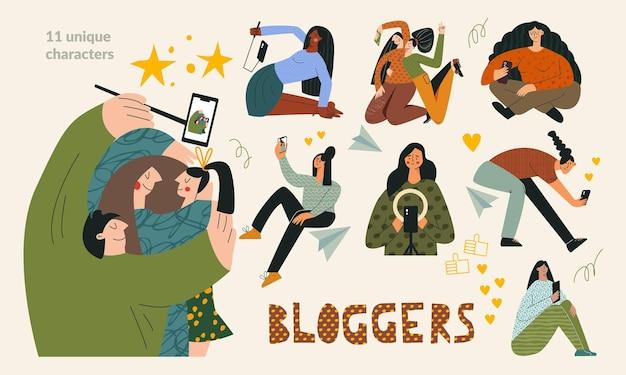 Blogger set koncepcja blogowania i influencera pakiet młodych, modnych vlogerów, grupa blogerów