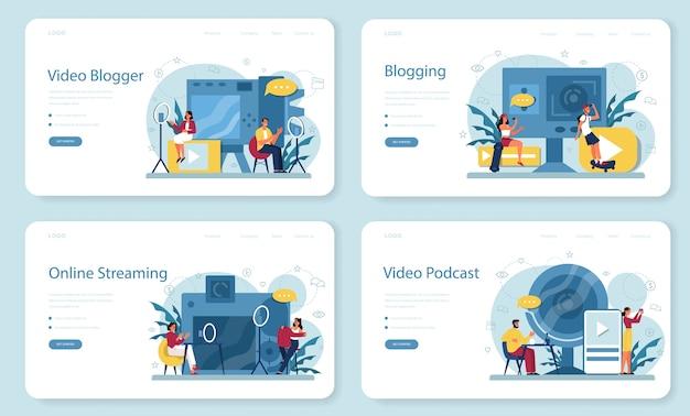 Blogger wideo, baner internetowy do blogowania i podcastów lub zestaw stron docelowych. udostępniaj treści w internecie. idea mediów społecznościowych i sieci. komunikacja przez internet.