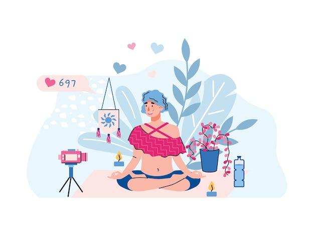 Blogger wideo lub vlogger postać kobiety robi strumień praktyki jogi, płaska ilustracja na białym tle. vlogger przed kamerą pokazujący pozę jogi.