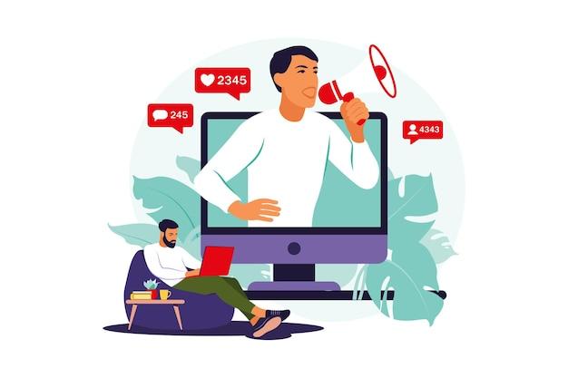 Blogger z głośnikami ogłaszający nowości, przyciągający grupę docelową. koncepcja marketingu, promocji, komunikacji. ilustracja wektorowa. mieszkanie.