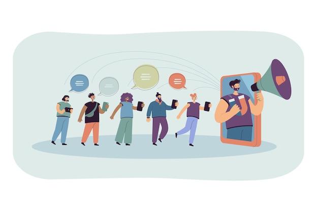 Blogger z głośnikiem oddziałujący na odbiorców w mediach społecznościowych. płaska ilustracja.