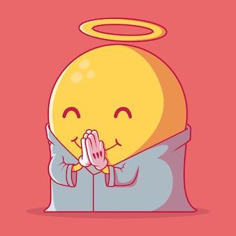 Błogosławiona ilustracja emoji. koncepcja projektowania technologii, komunikacji, społecznej, motywacji.