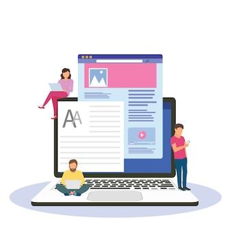 Blogowanie, blogger. wolny zawód. twórcze pisanie. kopiuj pisarz. zarządzanie zawartością. płaska ilustracja kreskówka miniaturowe
