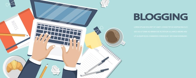 Blogowanie i baner dziennikarski