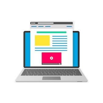 Blogowanie koncepcja płaska konstrukcja.