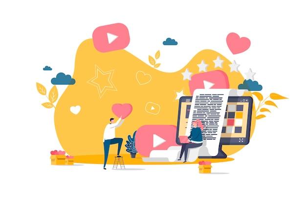 Blogowanie płaska koncepcja z ilustracjami postaci ludzi