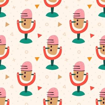 Blogowanie, Vlogowanie Mikrofon, Nagrywanie Dźwięku. Komunikacja Online. Płaski Kolorowy Wzór Premium Wektorów