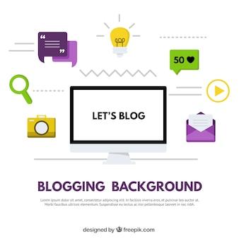 Blogowanie w tle płaskiej konstrukcji