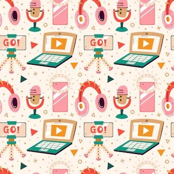 Blogowanie, zestaw do vlogowania. filmowanie przedmiotów. laptop, słuchawki, statyw, błyskawica, selfie, strumień. płaski kolorowy wzór