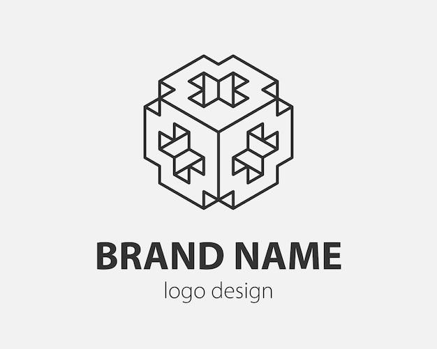 Blok logo streszczenie projekt technologia komunikacji szablon wektor liniowy styl. inteligencja internet ikona koncepcja logotypu.