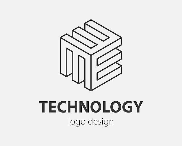 Blok logo streszczenie projektu technologia komunikacji szablon styl liniowy. inteligencja