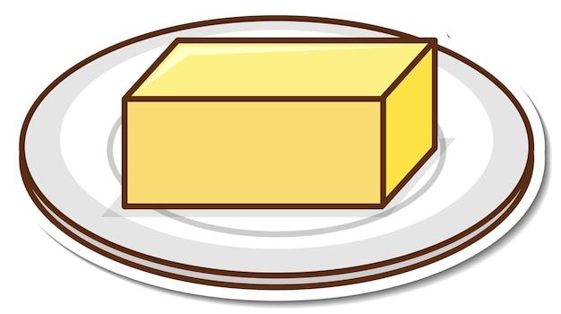 Blok masła na naklejce z kreskówek na talerzu