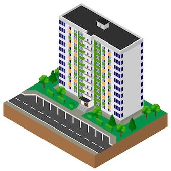 Blok mieszkalny. dom. budynek. izometryczny.