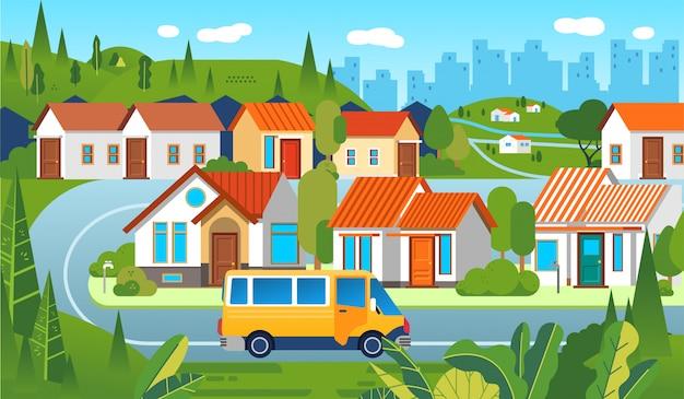 Blok mieszkalny z domami, drzewem, drogą i samochodem z pejzażem miejskim
